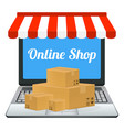 laptop online shop store with package box vector image