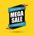mega sale design special offer concept discount vector image vector image