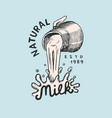 milk is pouring from a jug vintage logo or label vector image vector image