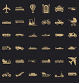 moving transport icons set simple style vector image vector image