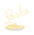 pasta on plate isolated spaghetti on dish on vector image vector image