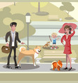 people with dogs design concept vector image vector image