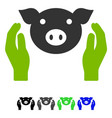 Pig care hands flat icon