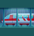 railway station concept background cartoon style vector image vector image