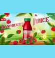 raspberry juice bottle mock up with green vector image vector image