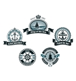 Retro blue nautical labels and badges vector image vector image