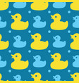 seamless pattern with yellow rubber ducks vector image