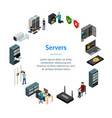 server hardware banner card circle isometric view vector image vector image