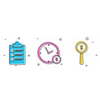 set clipboard with checklist time is money and vector image vector image