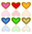 set of multicoloured hearts vector image vector image