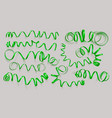 set realistic green ribbons on grey background vector image vector image