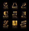 shiny golden music logos set vector image