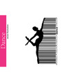 Silhouette of a dancing girl and barcode dancer