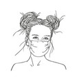 sketch teenage girl portrait in medical face vector image