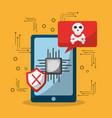smartphone data problem virus attaked vector image