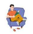 teenager read book in armchair at home reading guy vector image vector image