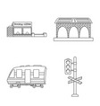 train and station sign set vector image vector image