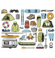 travel and tourism equipment camping icons vector image