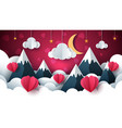 valentine s day air balloon cloud vector image vector image