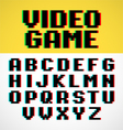 Video game pixel font with distortion vector image vector image