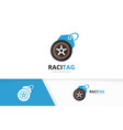 wheel and tag logo combination tire and vector image