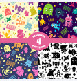 seamless patterns set with cute cartoon monsters vector image