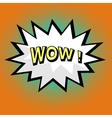 Wow comic speech bubble in pop art style vector image