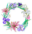 botanical lily and iris wreath frames vector image