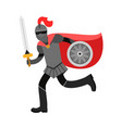 medieval amed knight character in red cape vector image