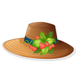 A hat with strawberries vector image vector image