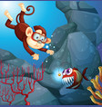a monkey diving in the ocean vector image