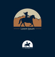 Abstract figure riding a horse in a mountain lands vector image vector image
