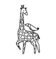african giraffe and toucan wildlife vector image vector image