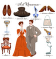 art nouveau couple and old fashion past years vector image