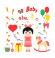 baby icons for girls icon flat vector image vector image