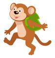 bamonkey carrying satchel on shoulders walking vector image