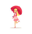 beautiful blonde young woman in pink dress vector image
