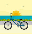 bicycle in the beach scene vector image