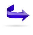 blue arrow web 3d shiny icon vector image vector image