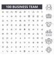 business team editable line icons 100 set vector image vector image
