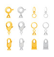 carabiner metal clasps set vector image