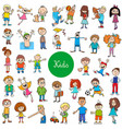 cartoon kids characters large set vector image vector image