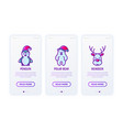 christmas concept with thin line icons reindeer vector image