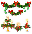 christmas sketch with decorations twigs of vector image