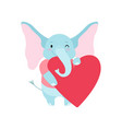 cute elephant holding big red heart funny animal vector image