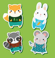cute kawaii animals stickers set vector image