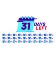 days number left badges countdown sticker design vector image vector image