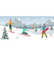 disabled people on winter sport active life vector image vector image