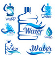 drinking clean water delivery set emblems and vector image