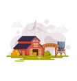 farm scene with red barn house wind turbine and vector image vector image